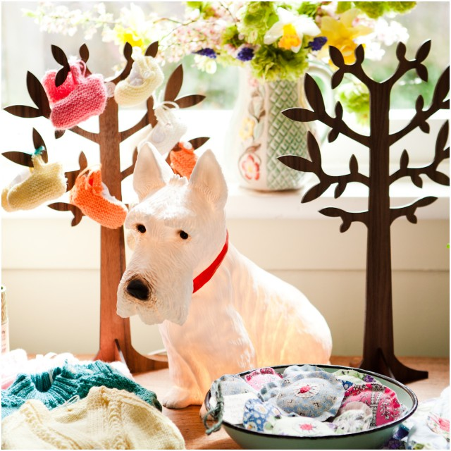 west highland terrier lamp in the bootie forest
